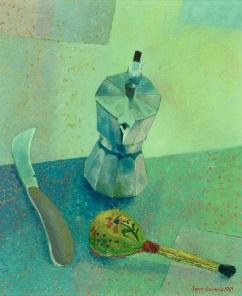 Seppo Salmelan maalaus Espressokeitin vuodelta 1981